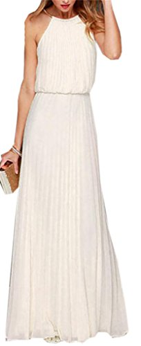 Solid Domple Party Swing Sleeveless Cocktail White Maxi Women's Pleated Dress ffqrSn56