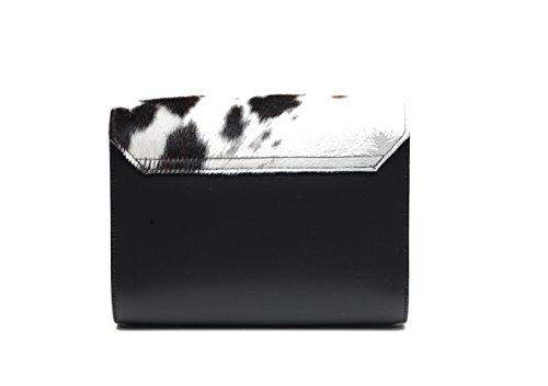 Pelle bovina Stampa pelliccia vera pelle Satchel grande croce borsa corpo con fibbia di chiusura e tracolla regolabile