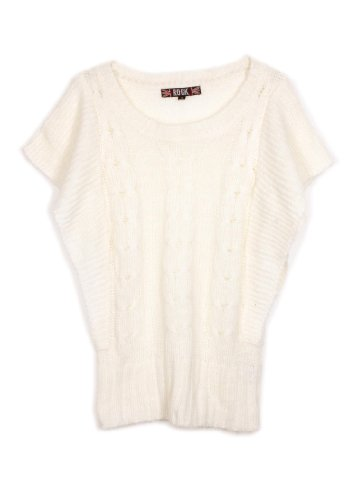 G2 Chic Women's Kimono Sleeve Cable Knitted Cape Sweater Top(TOP-SWT,OWH-M)