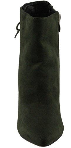 Betani Femmes Kendra-1 Faux Daim Bout Pointu Retour Lacet Décoration Haut Talon Cheville Robe Chaussons Olive