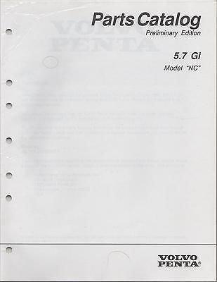 1996 VOLVO PENTA STERN DRIVE 5.7 Gi P/N 7797100-0 PRELIMINARY PARTS MANUAL (699)