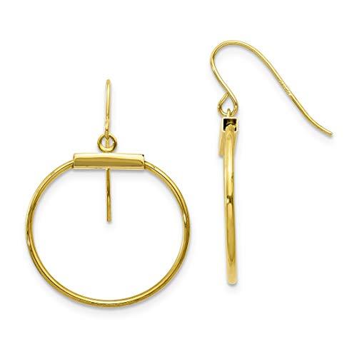 10k Yellow Gold Circle Drop Dangle Chandelier Earrings Fine Jewelry For Women Gift ()