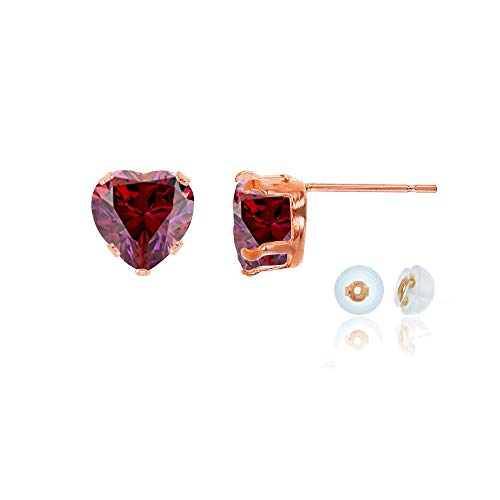 Genuine 14K Solid Rose Gold 5x5mm Heart Created Red Ruby July Birthstone Stud Earrings