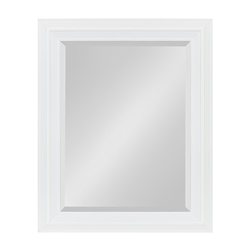 Kate and Laurel Whitley Classic Decorative Framed Beveled Wall Mirror, 23.5 x 29.5, White by Kate and Laurel