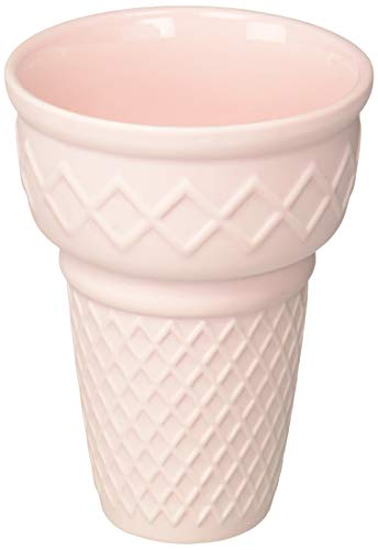 Easy Tiger 6EZR1854 Ceramic Decorative Vase, Medium, Pink - EASY, TIGER: Start with vintage design, add a modern twist, shake with sarcasm. That's us. Easy, Tiger is about fun. The kind of fun they write books about. Then burn. THE 411: Your little plants will all scream for this ice cream cone-shaped planter. Crafted of ceramic and featuring a matte, soft pink finish. Goes perfectly with our other ice cream planters! WORDS: No words, just a killer ice cream statement. - vases, kitchen-dining-room-decor, kitchen-dining-room - 31JeN8H2 7L -