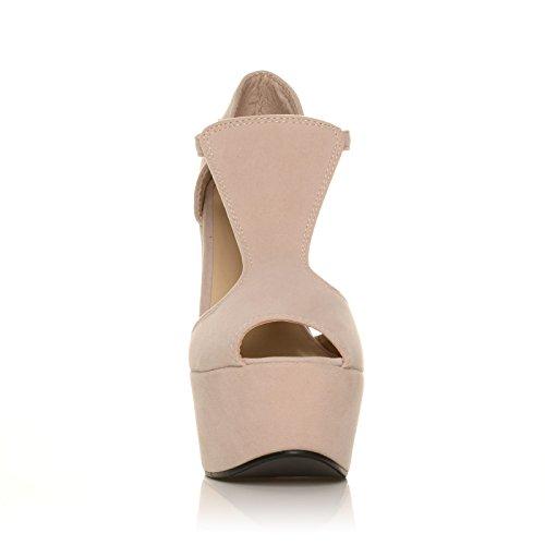 Bout Nude ENYA à plateforme ouvert daim Effet Chaussures qXFrXUt