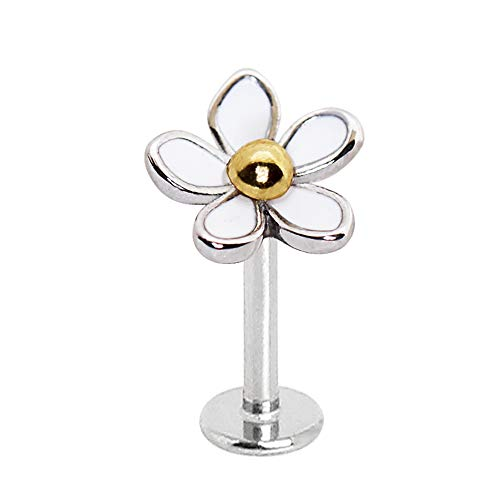 Amelia Fashion 16 Gauge White Daisy Labret Stud Externally Threaded 316L Surgical Steel for Lip Chin or Ear Cartilage (Steel/White) (Daisy Gauges)