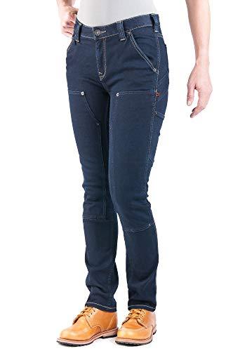 Dovetail Womens Work Pants: Maven Slim Stretch Carpenter Pant for Women Powerflex Indigo Denim, Size 12, 32