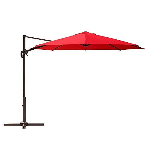 Le Papillon 10 ft Cantilever Umbrella Outdoor Offset Patio Umbrella Easy Open Lift 360 Degree Rotation, Red
