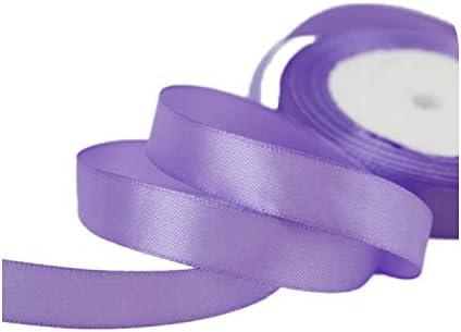 kawayi-桃 (25ヤード/ロール)片面サテンリボンウェビング装飾ギフトクリスマスリボン(6/10/12/15/40 / 50mm)-Light Purple-6mm