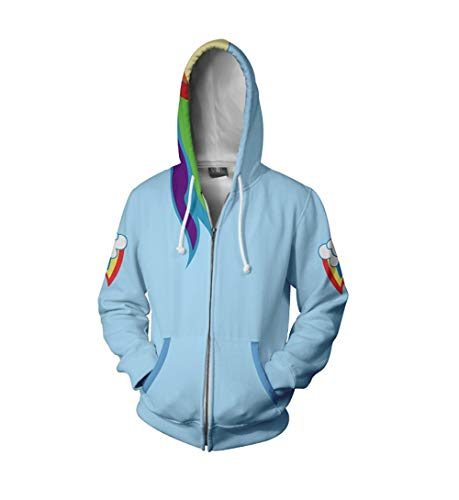Xiao Maomi Hoodie Casual Cool Jacket Hoodie Anime Dash Cosplay Costume Zipper Long Sleeves Coat (XL, Sky Blue)