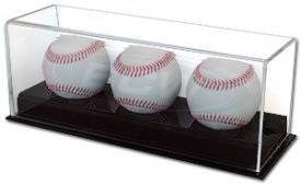 BCW Deluxe Acrylic Triple (3) Baseball Holder Display - Sports Memoriablia Display Case - Sportscards Collecting (Acrylic Baseball Holders)