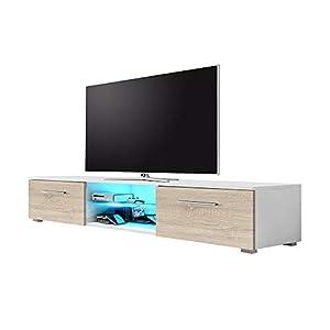 Syvis Meuble TV Bas 140 cm Blanc Mat/chêne Sonoma Mat/LED Bleues
