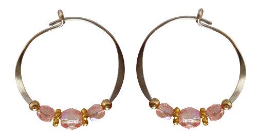 Bali Sky Small Sterling Silver Pale Pink Bead Hoop Earrings SHS007 ()