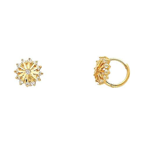 14k Yellow Gold Sun Hoop Earrings with Cubic Zirconia (14k Sun Hoop)