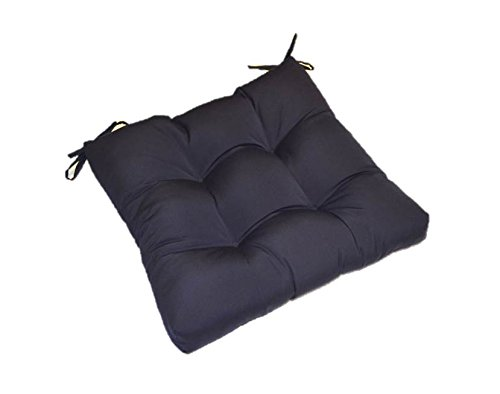 Indoor Outdoor Solid Navy Blue Universal Tufted Seat Cushion with Ties for Dining Patio Chair – Choose Size 18 x 17