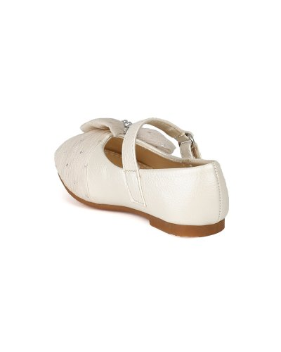 JELLY BEANS Limasa Leatherette Fabric Bow Rhinestone Mary Jane Dressy Ballerina Flat (Toddler) AH36 - Pearl (Size: Toddler 4) by JELLY BEANS (Image #2)