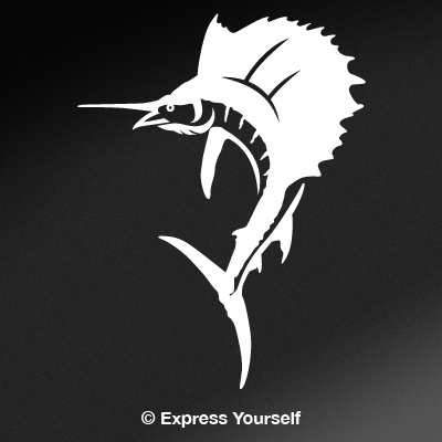 (Sailfish (White - Image Facing as Shown - Large) Decal Sticker - Saltwater Fish Collection)