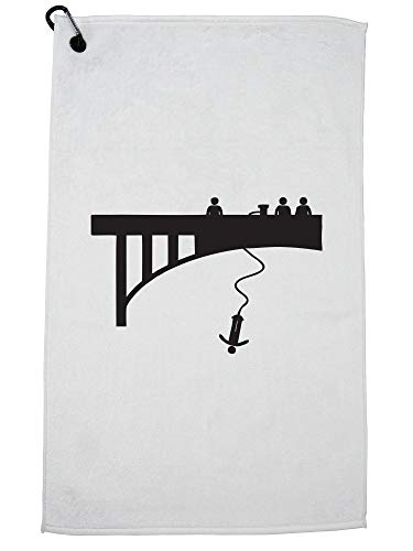 Hollywood Thread Cool Bungee Jumping Bridge Jump Silhouette Graphic Golf Towel with Carabiner Clip by Hollywood Thread