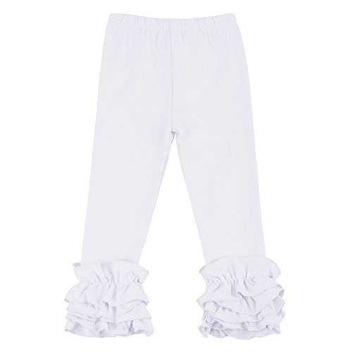 Little Girl Double Icing Ruffle Leggings Solid Color Halloween Xmas Triple Cotton Trousers Kid Long Flare Ruffle Pant White 1-2 Years