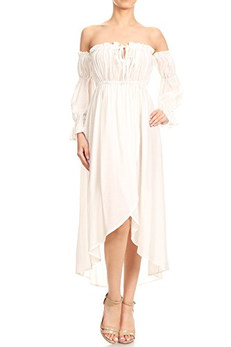 Anna-Kaci Womens Boho Long Sleeve Off Shoulder Renaissance Peasant Dress, Off-White, X-Large