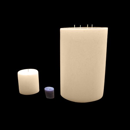 Large Pillar Candle - Ivory, 8x16, Unscented, Hand Poured (3 wick) by Candles West