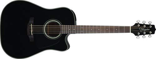Takamine 6 String Acoustic-Electric Guitar, Right Handed, Black (GD30CE-BLK) by Takamine