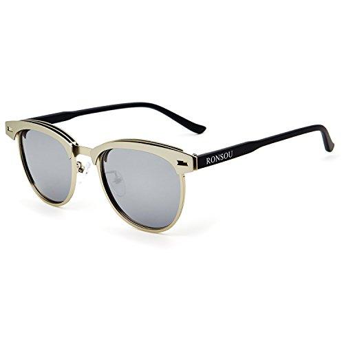 RONSOU para de UV400 Plateado Marco Hombre Gafas Mujer Lente y Protección Polarizadas Plateado Sol Retro Gafas 100 pSrpq