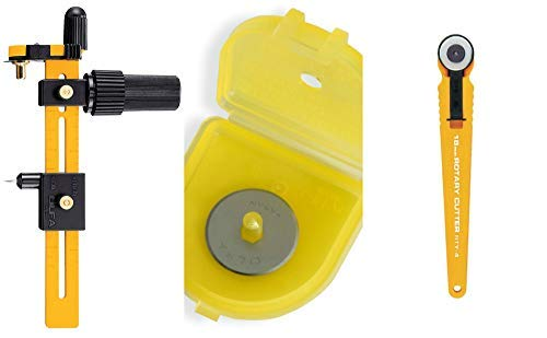Olfa Rotary Circle Cutter with 18mm Rotary Cutter and 2 Replacement Blades for Quilting, Sewing, Crafts by OLFA