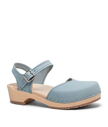 Sandgrens Swedish Wooden Low Heel Clog Sandals for Women | Saragasso Light Blue, EU (Womens Clogs Sandals)