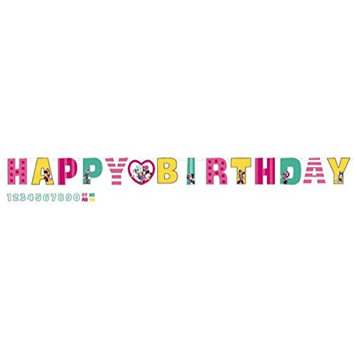 Disney Minnie Mouse Jumbo Add-An-Age Letter Banner, 1 Piece, Made from Cardboard Paper, Birthday, 10 1/2 Feet x 10