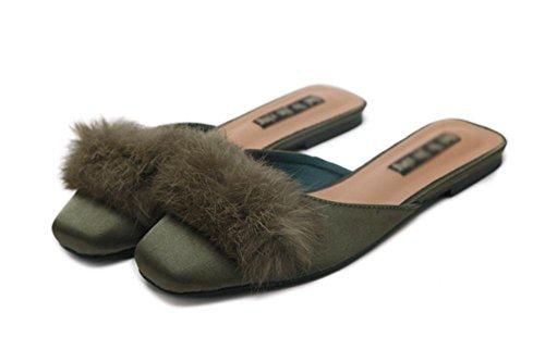 zapatillas de felpa y media cuadrada cabeza llevan zapatos de la señora plana dentro de Baotou ¡sandalias de primavera y verano casuales retro y zapatillas army green