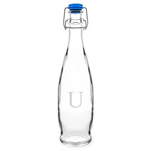 Cathy's Concepts Personalized Swing Top Glass Water Bottle, Letter U ()