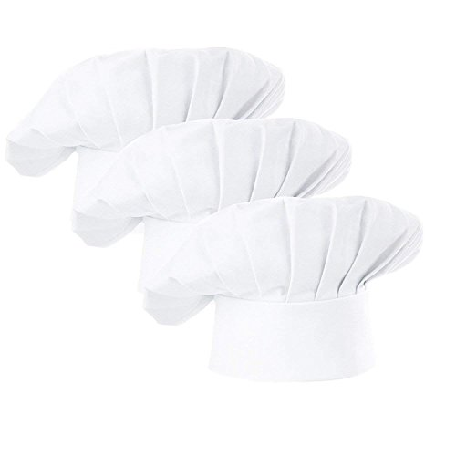 AFYHA Chef Hat, Set of 3 Adult Adjustable Elastic Baker hats, Kitchen Catering Cooking Chef Cap White or Black (White) -
