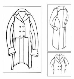 [1800 - 1820 Men's M-notch and Roll Collar Tailcoat Pattern] (Romantic Time Period Costumes)