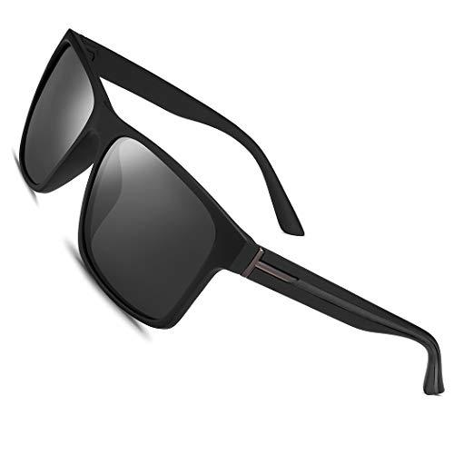 Polarized Sunglasses for Men Women Driving Fishing Mens Sunglasses Rectangular Vintage Sun Glasses Grey Lens/Matte Black Frame (Vanquish Sunglasses)