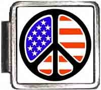 US Flag In Peace Sign Italian Charm Bracelet Jewelry Link A10079