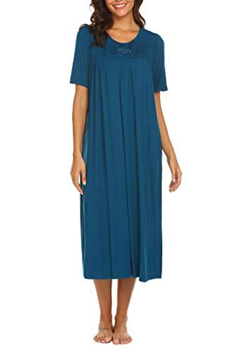 Embroidered Sleepshirt (Ekouaer Women's Sleepwear Long Nightgown Cute Cozy Sleepshirts Floral Embroidered Nightwear Blue XL)