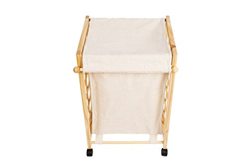 Laundry Hamper Sorter Cart Clothes Basket Storage with Wheels and Cover Bamboo Design by Bamfan (Image #4)