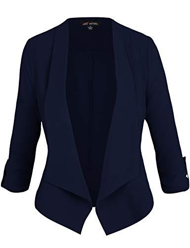 (Michel Women's Casual 3/4 Sleeve Open Front Blazer Cardian Jacket Work Office Blazer Navy Small)