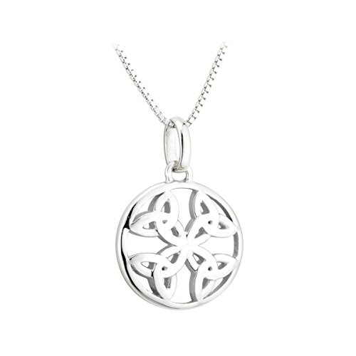 Hallmarked Sterling Silver Round Pendant with Four Trinity Knots Design (Pendant Knot Round)