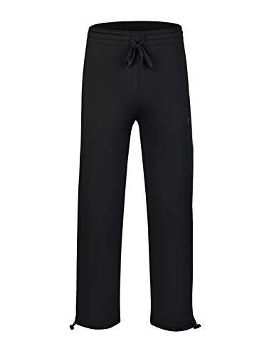EZRUN Youth Boy's Fleece Lined Pants Elastic Waistband Zip Pockets Sweatpants(Black,S) ()