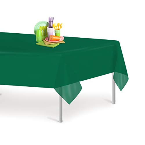 Dark Green 6 Pack Premium Disposable Plastic Tablecloth 54 Inch. x 108 Inch. Rectangle Table Cover By Dluxware