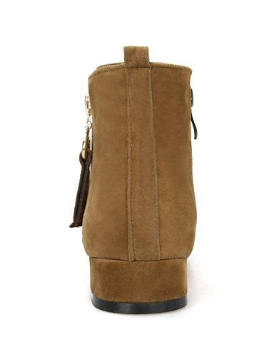 Chunky Chaussons pour green Rond Chaussures décontracté en Mode Femme Bottes Chaussons à Citior Bout suédine pour Bottes Talon Femme qAzIX