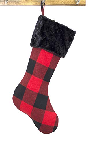 (Fennco Styles Buffalo Plaid Red and Black with Faux Fur Design Christmas Hanging Stocking (Black Fur Stocking)