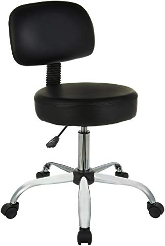 (AmazonBasics Multi-Purpose Drafting Spa Bar Stool with Back Cushion and Wheels - Black)