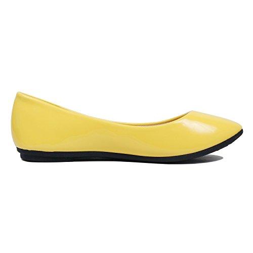 Shoes Patent Womens Slippers Yellow On Ballerina Slip Flats Ballet Blvd West vwq4Yq