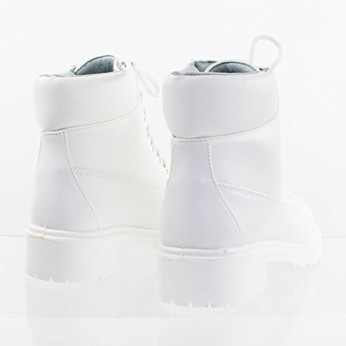 Bamboo Fashion Work Boots w Lug Sole, Padded Collar Solid White