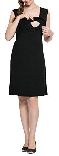 Dress Maniche Black A Vestito Comoda Popolare Gravidanza Senza Abito Allattamento Girocollo Strati Donna Loose Abito Unita ELEKIKIL Pregnancy Tinta Semplice Casual OqpBBx