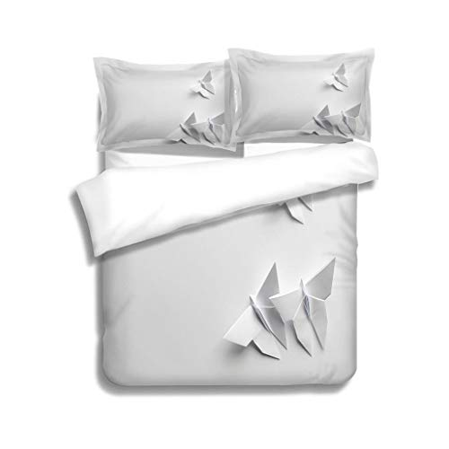MTSJTliangwan Family Bed White Origami Butterflies on White Background 3 Piece Bedding Set with Pillow Shams, Queen/Full, Dark Orange White Teal Coral